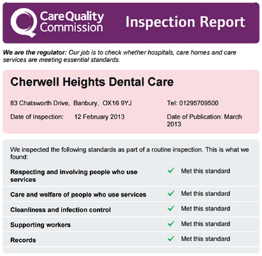 Care Quality Commission report of a leading Banbury dentist.